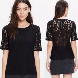 Madewell black lace top xs
